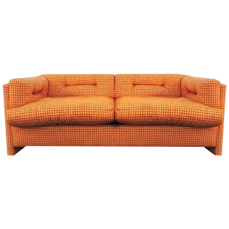 Terrific Modern Orange Grid Velvet Chenille Loveseat By John Uwap Interior Chair Design Uwaporg