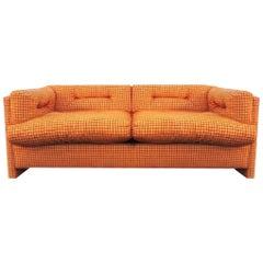 Modern Orange Grid Velvet Chenille Loveseat by John Mascheroni Swaim Orig. 1973
