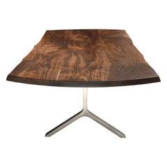Modern Claro Walnut Dining Table, in Stock
