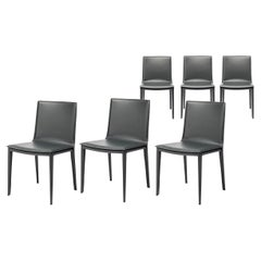 Modern Classic Dining Chairs in Supple Graphite Leather, Set of 6