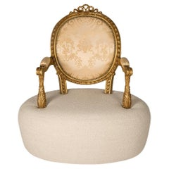 Modern Classic Elizabeth I Armchair in Carved Wood and Patinated Fine Gold Leaf