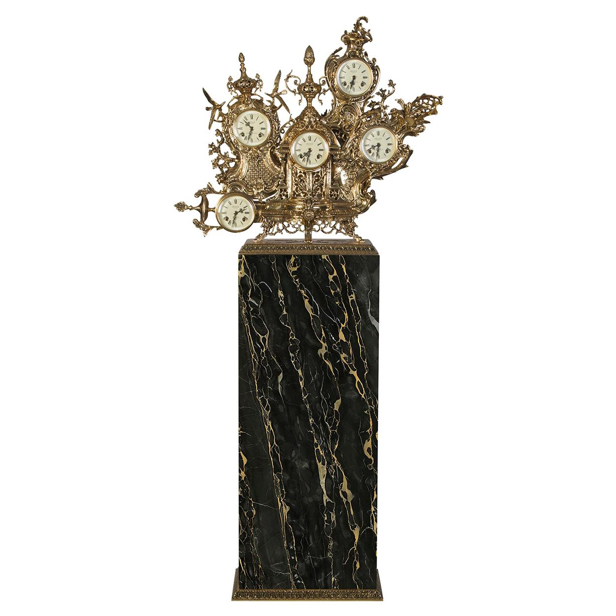 Modern Classic Grandfather Clock in Polished Brass and Black Portoro Marble