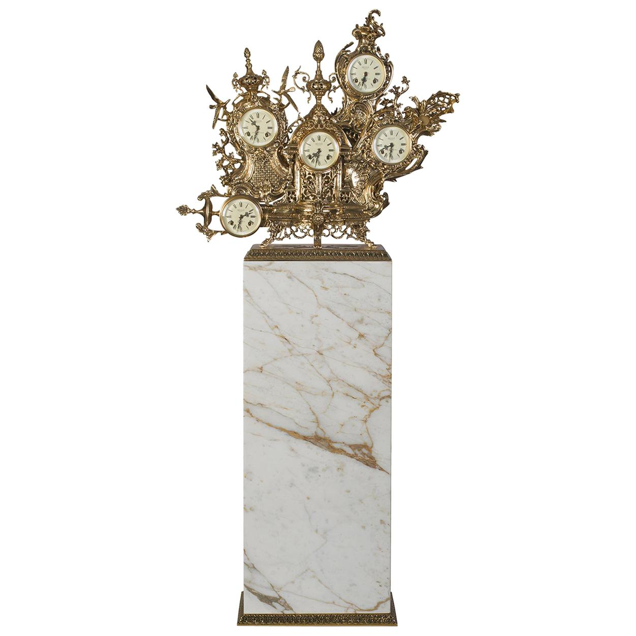 Classic Grandfather Floor Clock, Patinated Polished Brass, Calacatta Gold Marble