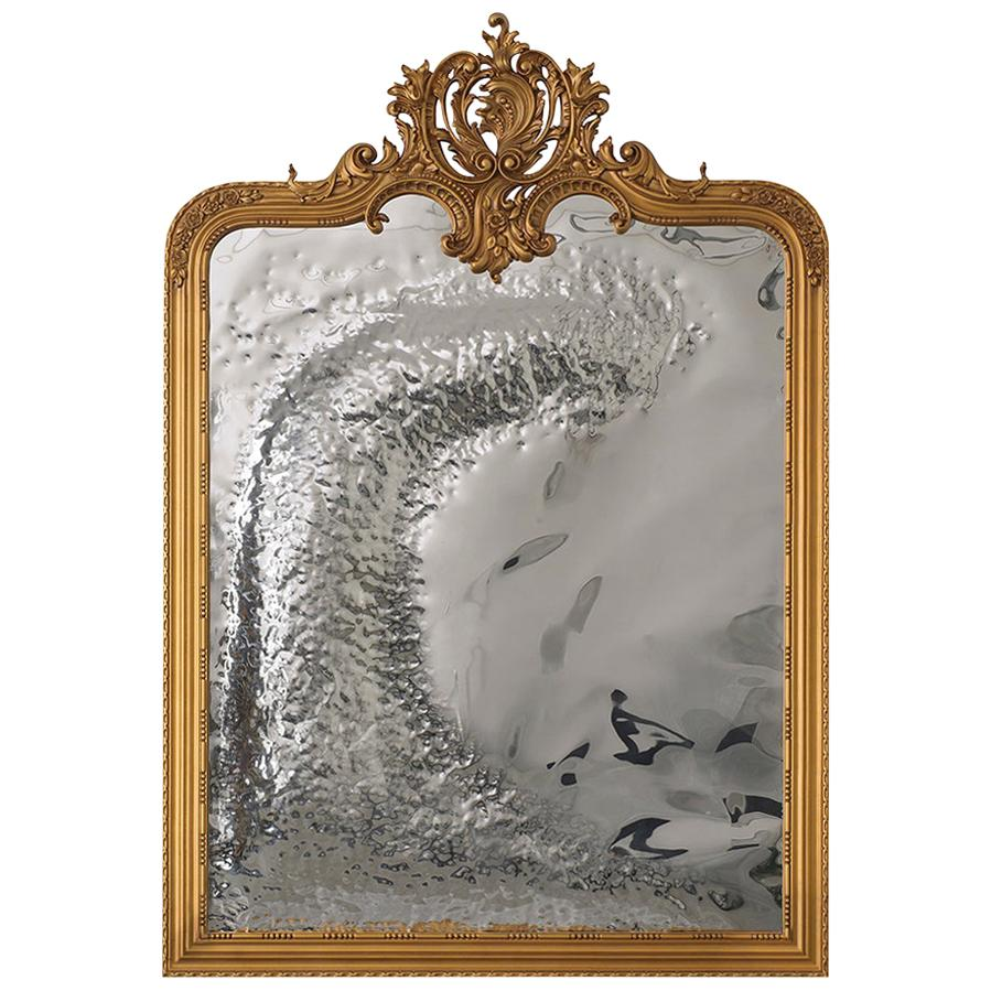 Modern Classic Imaginarium Wall Mirror, Gold Carved Wood and Polished Inox
