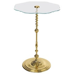 Modern Classic Side Table in Polished Brass and Glass Top, Gold Rococo Table