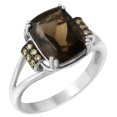 Modern Classic Smoky Quartz Brown Diamond White Gold 14 Karat Ring