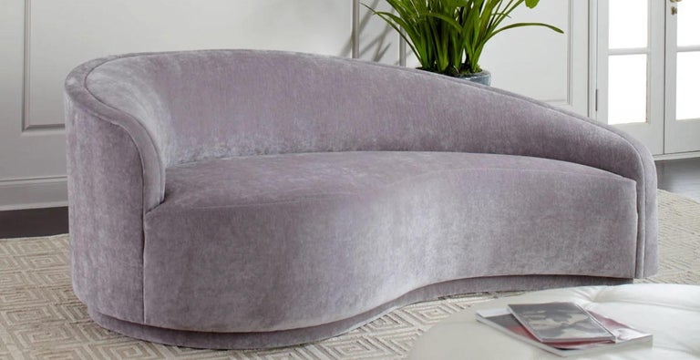 Contemporary Modern Classic Velvet Grey Curved Sofa, Left Arm Facing For Sale