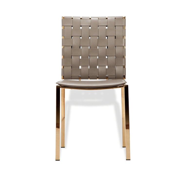 Modern High Quality Taupe Leather Dining Chairs; Set of 6 For Sale