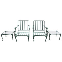 Modern Classical Style Garden Patio Armchairs and Side Tables