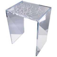 Modern Clear Etched Acrylic or Lucite Side Table, End Table