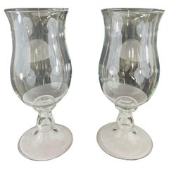 Modern Clear Glass Candleholder or Vase, a Pair