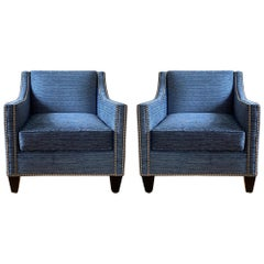 Modern Club Chairs in Blue Performance Fabric with Nickel Nailhead Trim, Pair