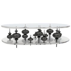 Modern Cocktail Table with French Black Bronze Minarets Between Lucite
