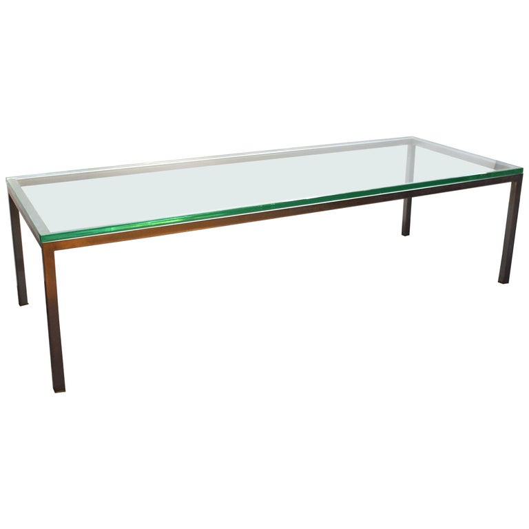 Modern Coffee Or Cocktail Table In Metal With Glass Top