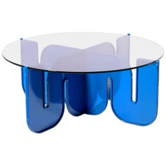 Modern Coffee Table, Flat Pack Center Table in Electric Blue, Clear Glass