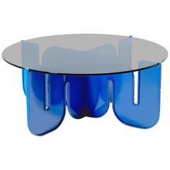 Modern Coffee Table, Flat Pack Center Table in Electric Blue, Smoke Glass