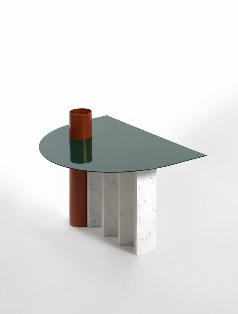 The Disused coffee table is an object of the self-titled collection.  The Disused collection is based on the Maxim Scherbakov's digital artwork, which makes advances to classical antique shapes. Composed of simple forms, it refers the viewer to the