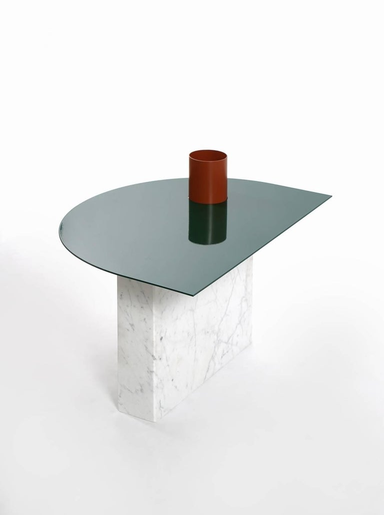 Hand-Crafted Modern Coffee Table in Marble and Powder Coated Steel from