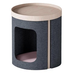 "Modern Coffee Table ""Lotto"" in Oak and Dark Grey Felt"