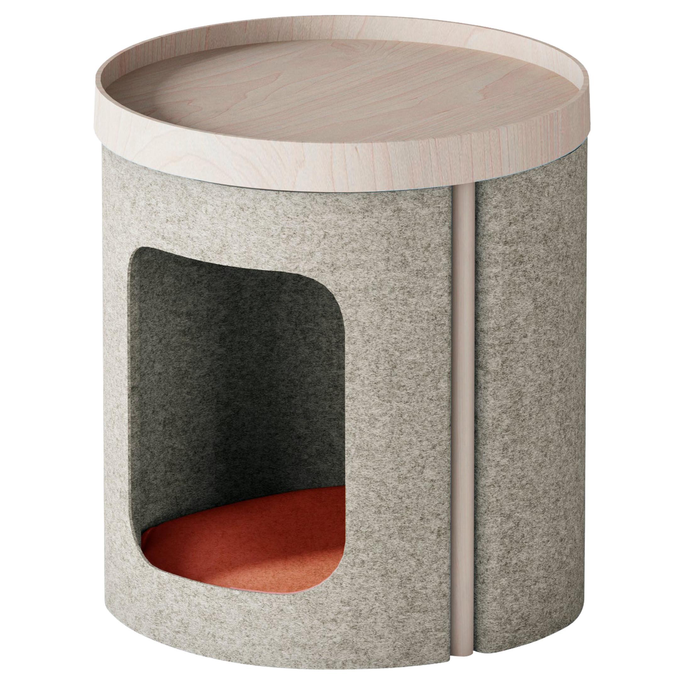"Modern Coffee Table ""Lotto"" in Oak and Grey Felt"