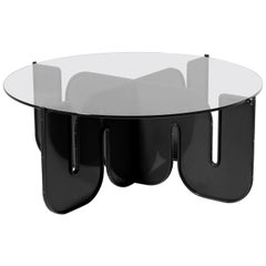 Modern Coffee Table, Minimalist Flat Pack Center Table in Black, Clear Glass