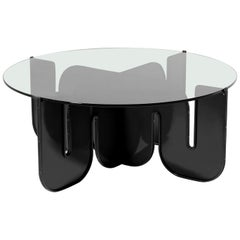 Modern Coffee Table, Minimalist Flat Pack Center Table in Black, Smoke Glass