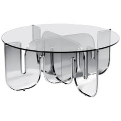 Modern Coffee Table, Minimalist Flat Pack Center Table in Chrome, Clear Glass