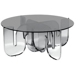 Modern Coffee Table, Minimalist Flat Pack Center Table in Chrome, Smoke Glass