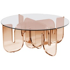 Modern Coffee Table, Minimalist Flat Pack Center Table in Copper, Clear Glass