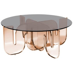 Modern Coffee Table, Minimalist Flat Pack Center Table in Copper, Smoke Glass