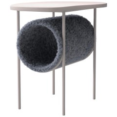 "Modern Coffee Table ""Tube"" in Light Gray Mohair"