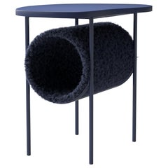 "Modern Coffee Table ""Tube"" in Navy Blue Mohair"
