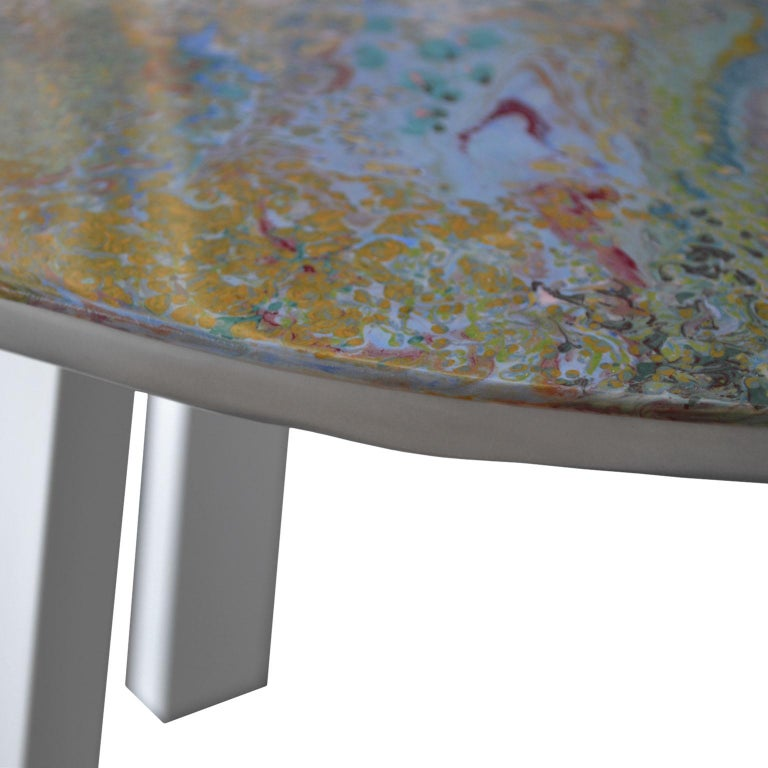 Hand-Crafted Modern Coffee Table White Marble Scagliola Art Decoration Lacquered Wooden Legs For Sale