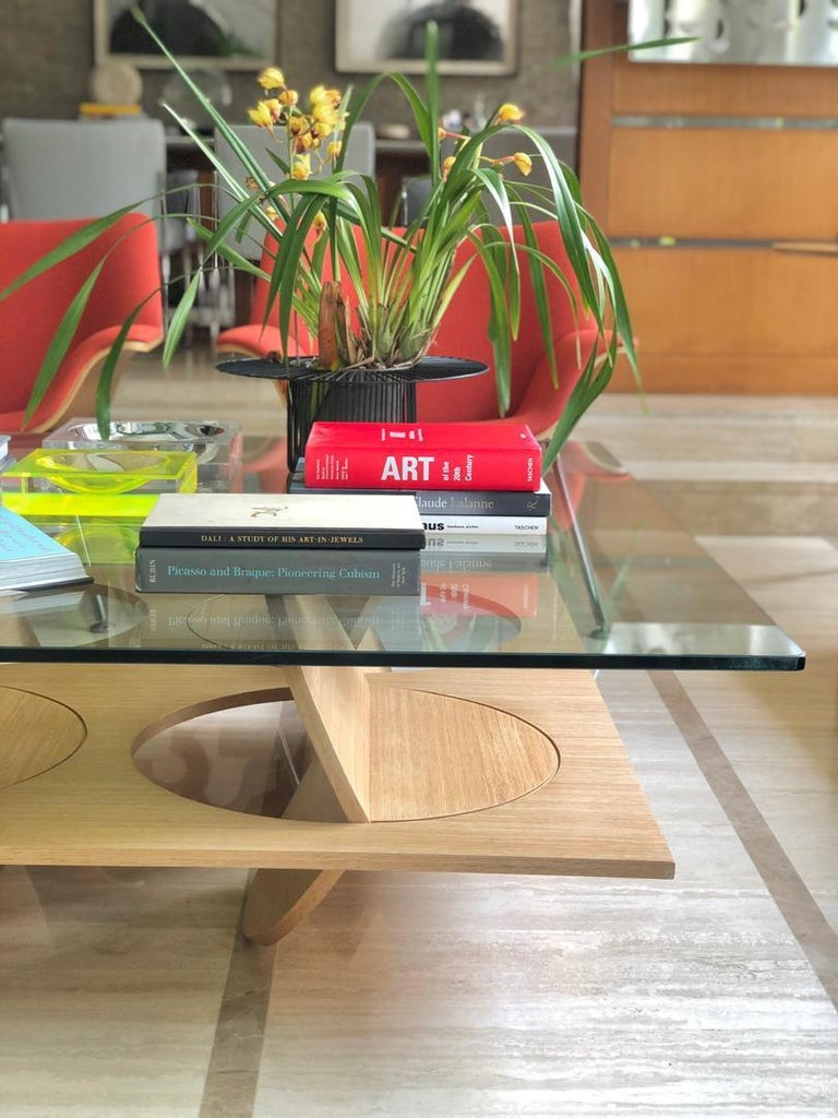 Modern Coffee Table White Oak Wood Glass on top by Ana Volante in Stock For Sale 5