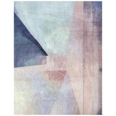 Modern Color Block Abstract Pink Purple Blue Hand Knotted Wool & Silk Rug