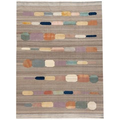 Modern Colorful Flat-Weave Kilim Room Size Wool Rug