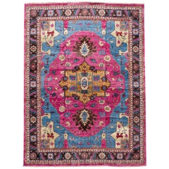 Modern Colorful Indian Wool and Silk Rug