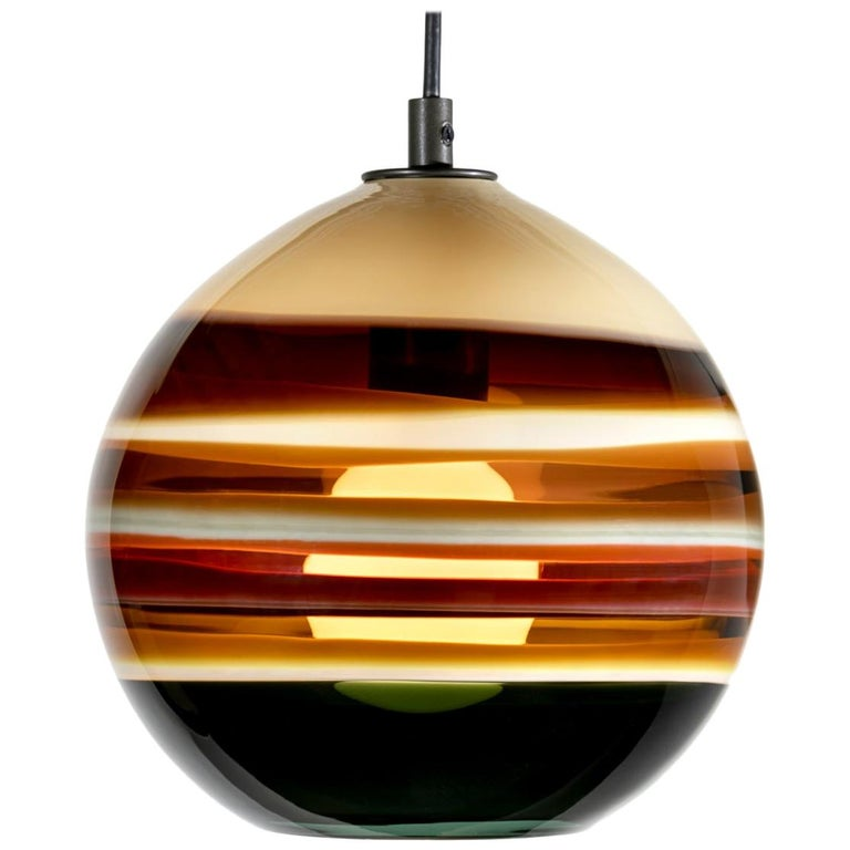 Modern Colorful Lighting, Amber Banded Orb, Hand Blown Glass For Sale
