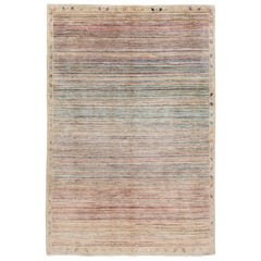 Modern Colorful Moroccan-Style Striped Rug