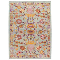 Modern Colorful Oushak Handmade Wool Rug