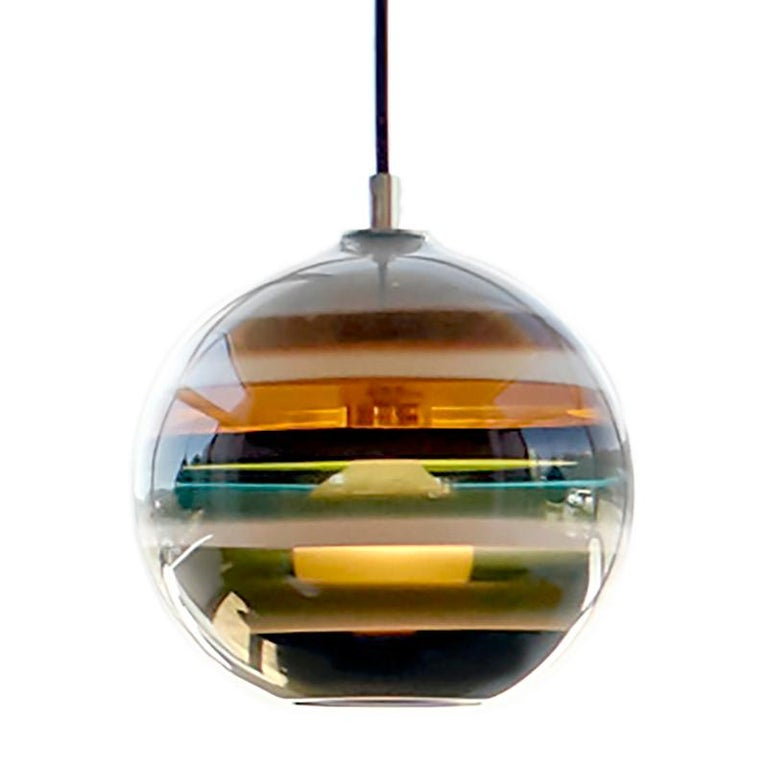 Modern Colorful Pendant Light, Stone Banded Orb, Handblown Glass 1