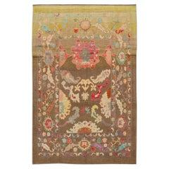 Modern Colorful Revival Handmade Wool Rug