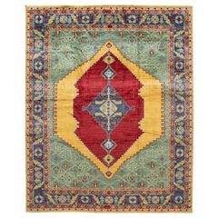 Modern Colorful Serapi Handmade Wool Rug