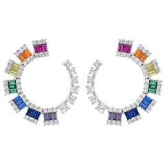 Modern Colorful Zirconia Half Circle Gold-Plated Silver Earrings