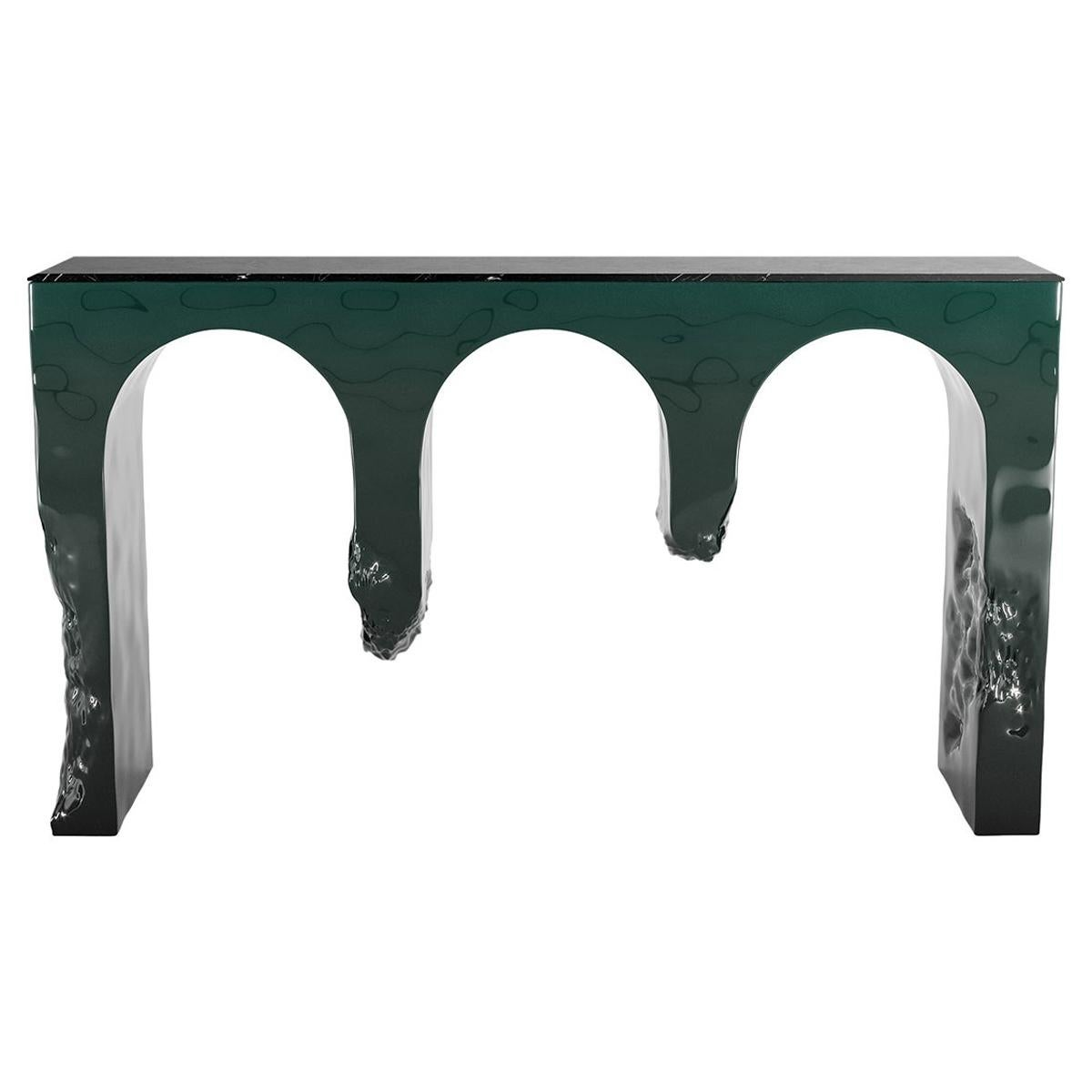 21th Century Modern Console Table Black Marquina Marble, Green Gradient & Wood