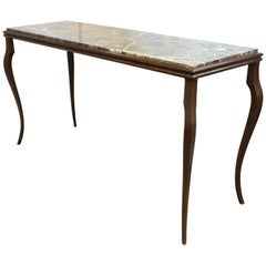 Modern Console Table with Cabriole Legs and Marble Top