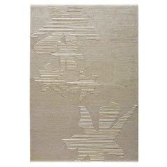 "Modern Contemporary Area Rug Beige Taupe, Handmade of Silk and Wool, ""Leafdrop"""