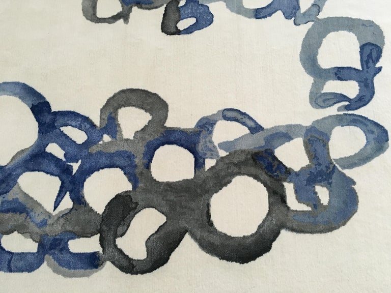 Modern Abstract Contemporary Area Rug Blue, Handmade Pashmina Silk and Wool