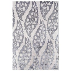 "Modern Contemporary Area Rug Grey Taupe, Handmade of Silk and Wool, ""Leaflet"""
