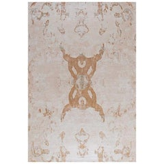 "Modern Contemporary Area Rug in Beige, Handmade of Silk and Wool, ""Eze"""